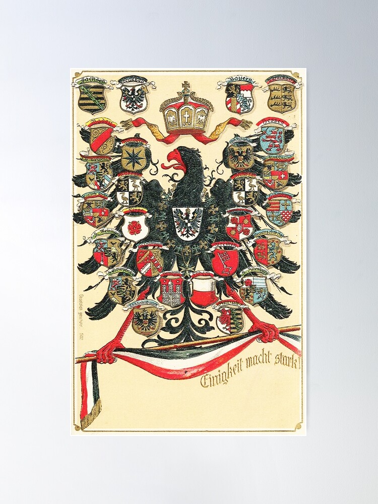 Alternate view of German Empire...Kingdoms, States and Free Cities Poster