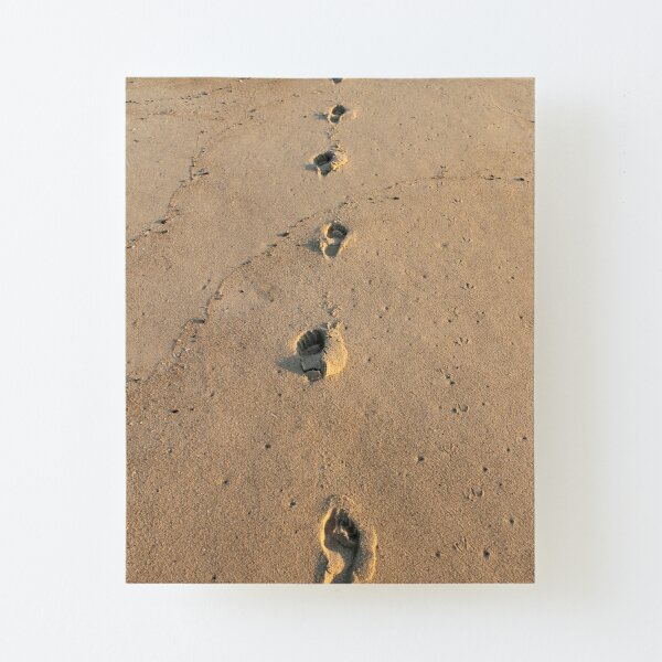 Bare footprints on the coastal sand Canvas Mounted Print