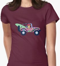 Preppy Jeep Golden Retriever Puppy - Island Vacation Womens Fitted T-Shirt