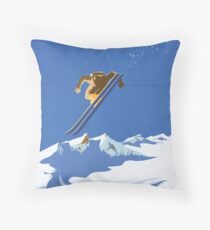 Sky Skier Throw Pillow