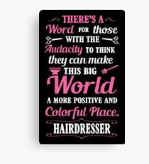 Big colorful world with hairdresser Canvas Print