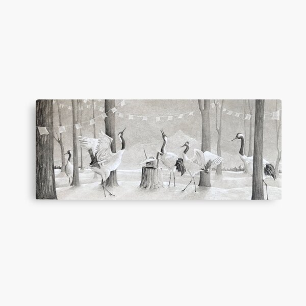 The Gathering (Black and White Prismacolor Pencil, Gray Paper) Metal Print