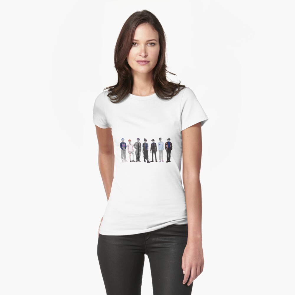 LKS BangtanToons - White Fitted T-Shirt