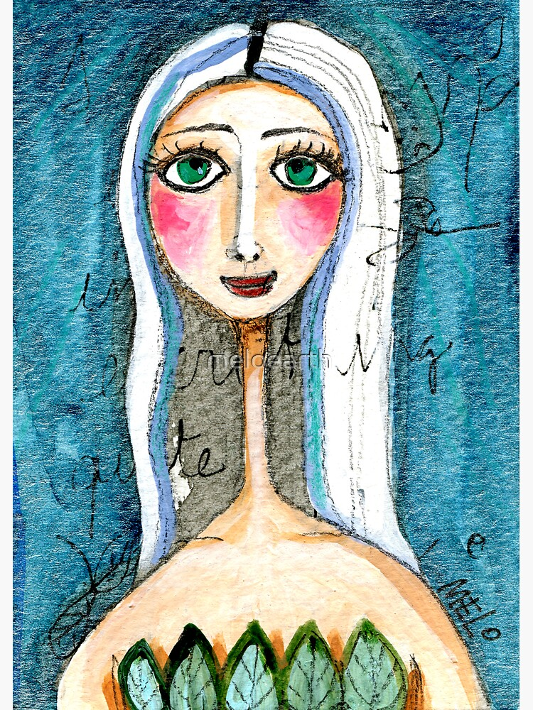Pretty Woman Portrait with Green Eyes and Blue Colors, text, writing Meloearth by meloearth