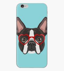 Boston Terrier Dog Hipster Glasses iPhone Case