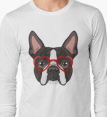 Boston Terrier Dog Hipster Glasses Long Sleeve T-Shirt