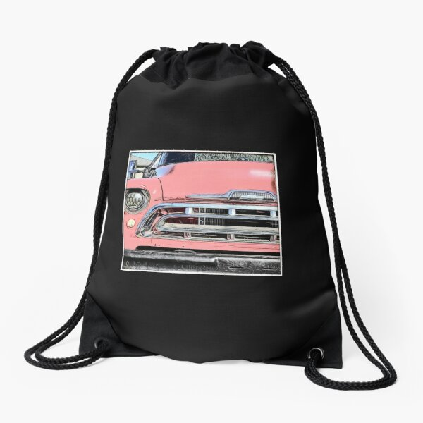 pink chevy Drawstring Bag