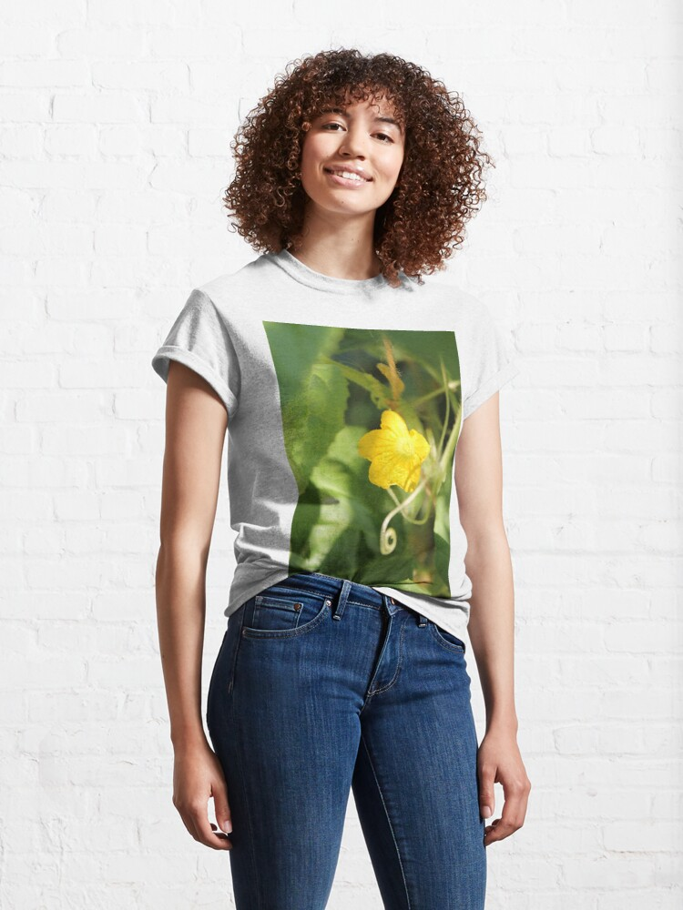 Alternate view of Yellow unnamed flower on a background of green leaves Classic T-Shirt