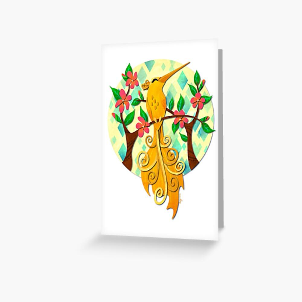Yellow Hummingbird White Greeting Card