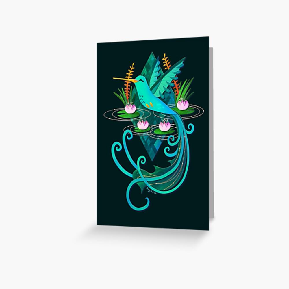 Waterlily Hummingbird Dark Greeting Card