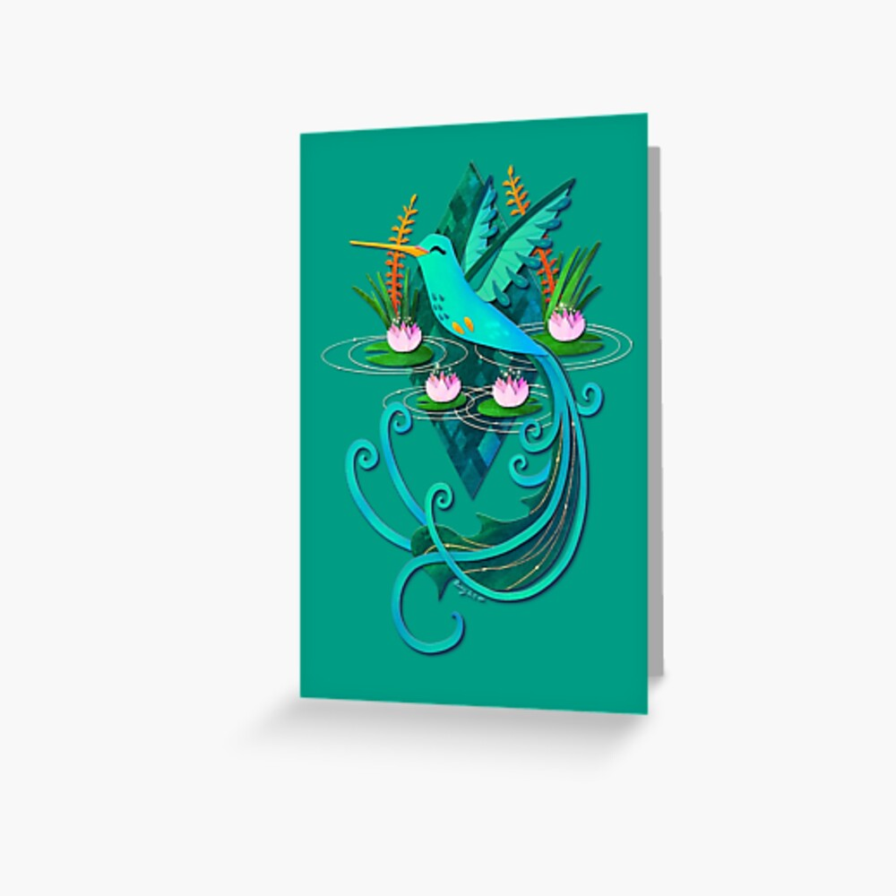 Waterlily Hummingbird Greeting Card