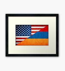 Lámina enmarcada Medio armenio medio bandera estadounidense