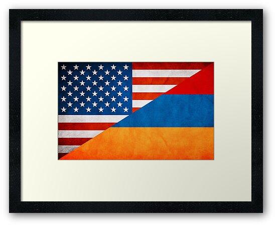 """Half Armenian Half American Flag"" Framed Prints by ..."