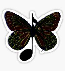 Yellow Musical Butterfly Sticker Sticker