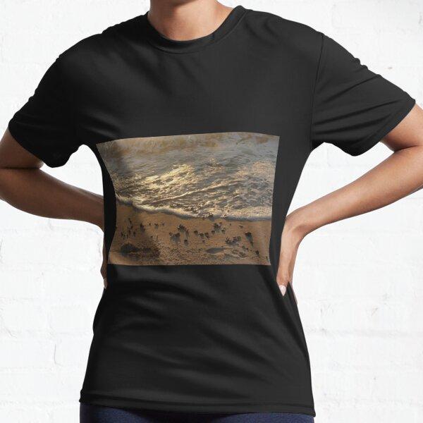 Sea foam, wave, sand, small stones Active T-Shirt