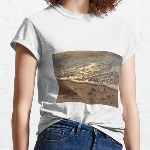 Sea foam, wave, sand, small stones Classic T-Shirt