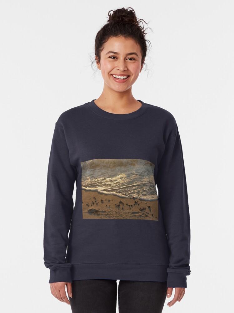 Alternate view of Sea foam, wave, sand, small stones Pullover Sweatshirt