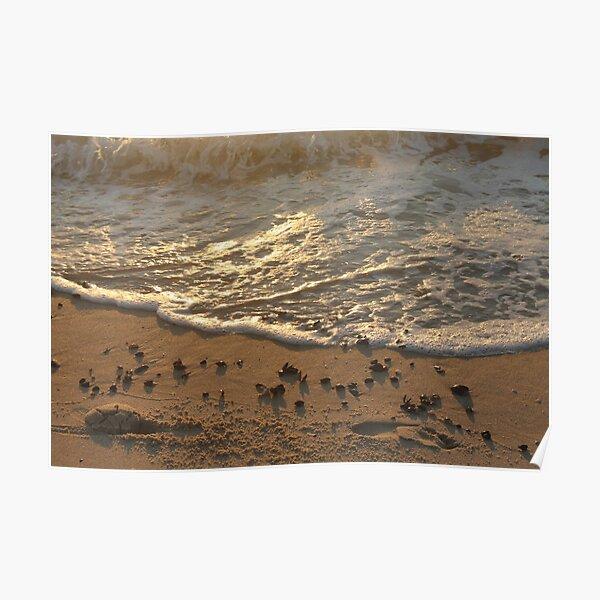 Sea foam, wave, sand, small stones Poster