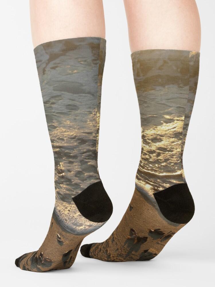 Alternate view of Sea foam, wave, sand, small stones Socks