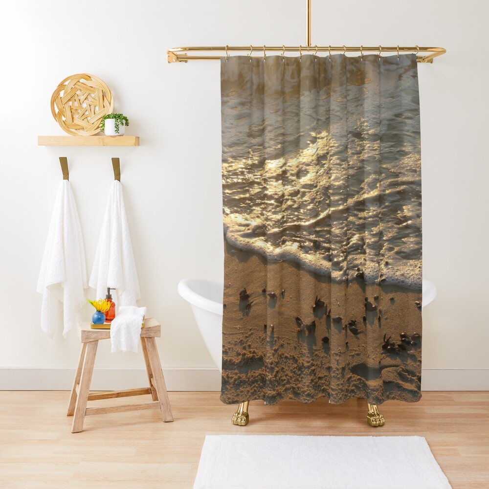 Sea foam, wave, sand, small stones Shower Curtain