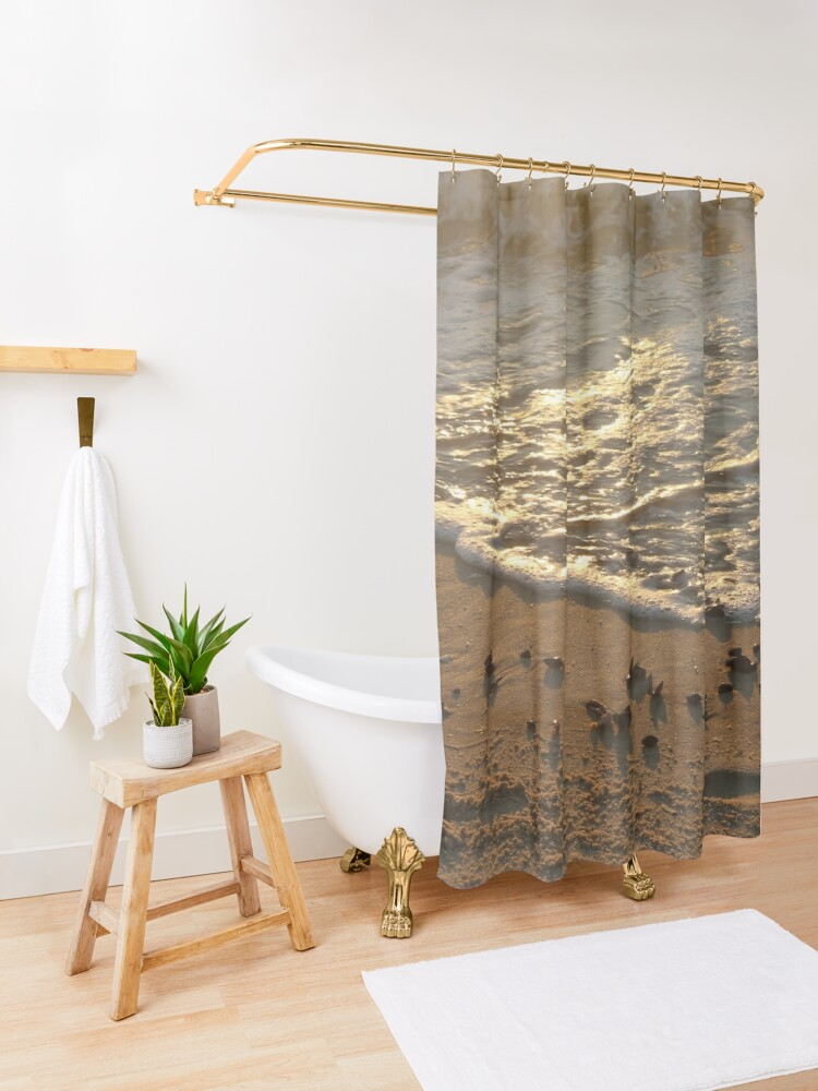 Alternate view of Sea foam, wave, sand, small stones Shower Curtain