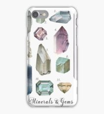 Gemstones and Minerals art print | Watercolor gemstones and crystals | Hand painted  semi precious stones | geology decor Printable wall art iPhone Case/Skin