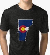 Vermont outline Colorado flag Tri-blend T-Shirt