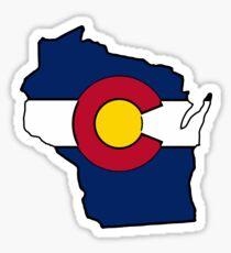 Wisconsin outline Colorado flag Sticker