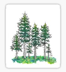 Watercolor and Ink Cypress Tree Sticker