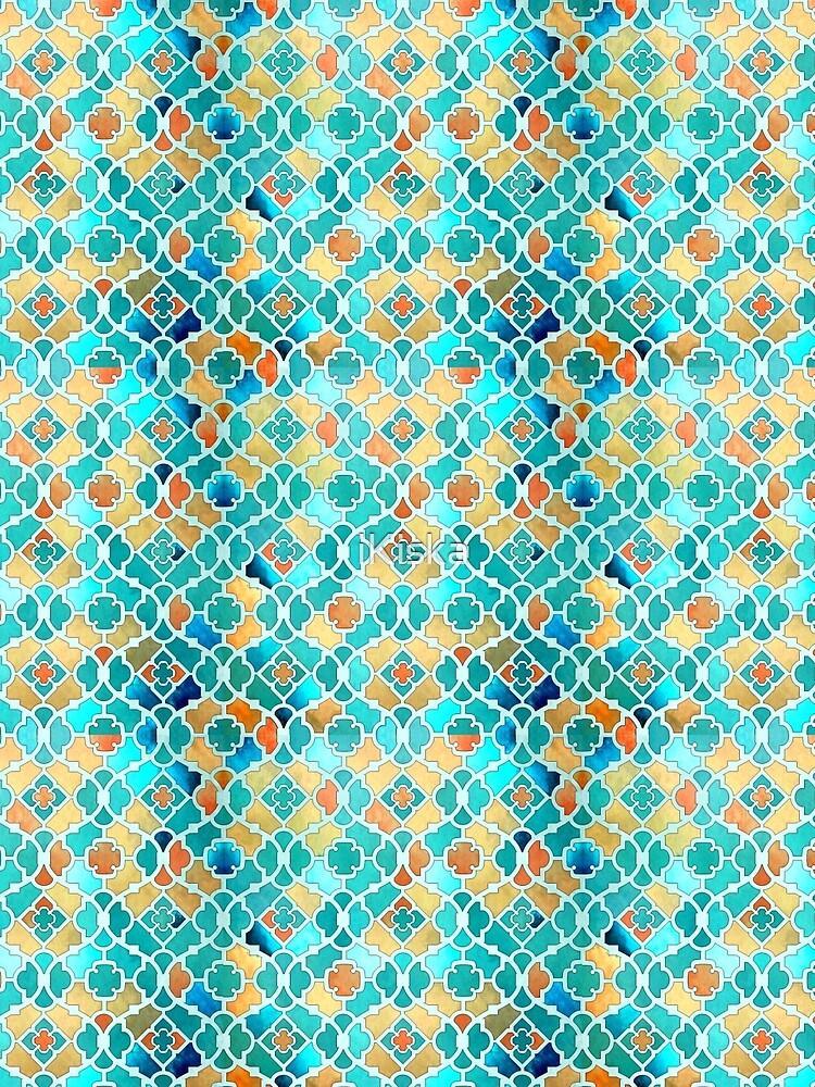 Arabesque Geometrical Pattern - Kingfisher Blue and Gold by iKiska