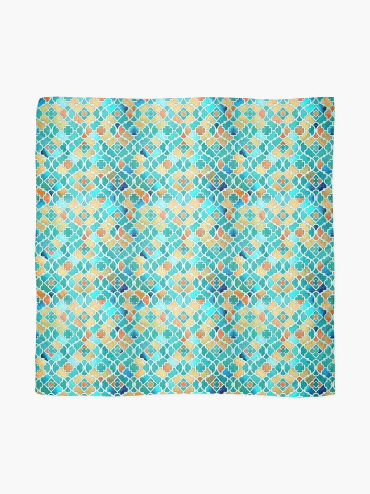 Alternate view of Arabesque Geometrical Pattern - Kingfisher Blue and Gold Scarf