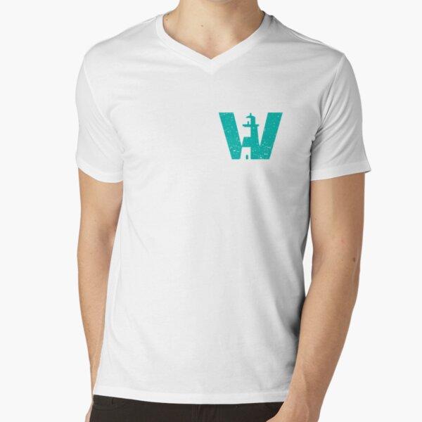 Teal Lighthouse Swimming logo V-Neck T-Shirt