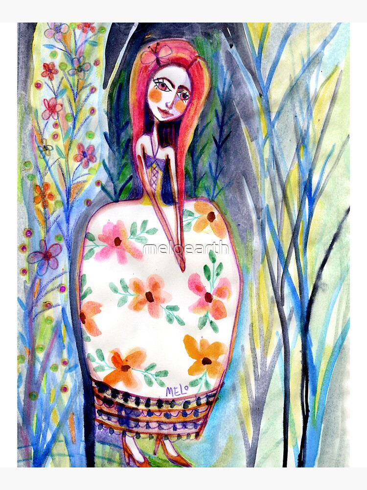 Woman in the Woods, Meloearth Art, Painting Redhead, Floral Fashion Dress, Orange Long Hair Girl Cute, Fairy, Floral by meloearth