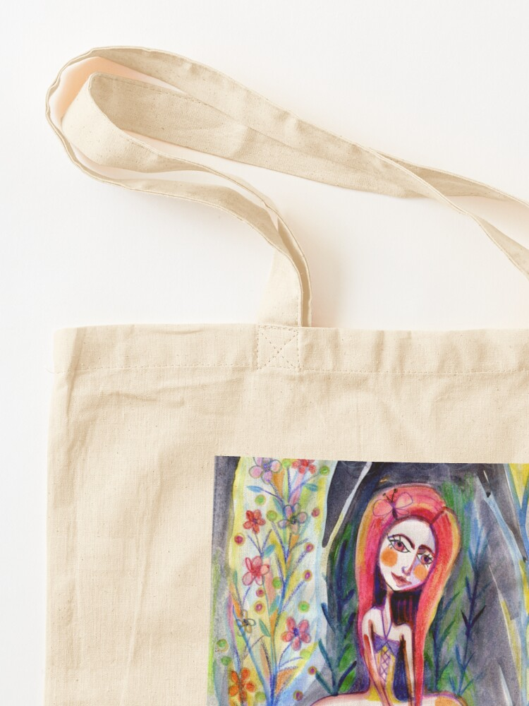 Alternate view of Woman in the Woods, Meloearth Art, Painting Redhead, Floral Fashion Dress, Orange Long Hair Girl Cute, Fairy, Floral Tote Bag