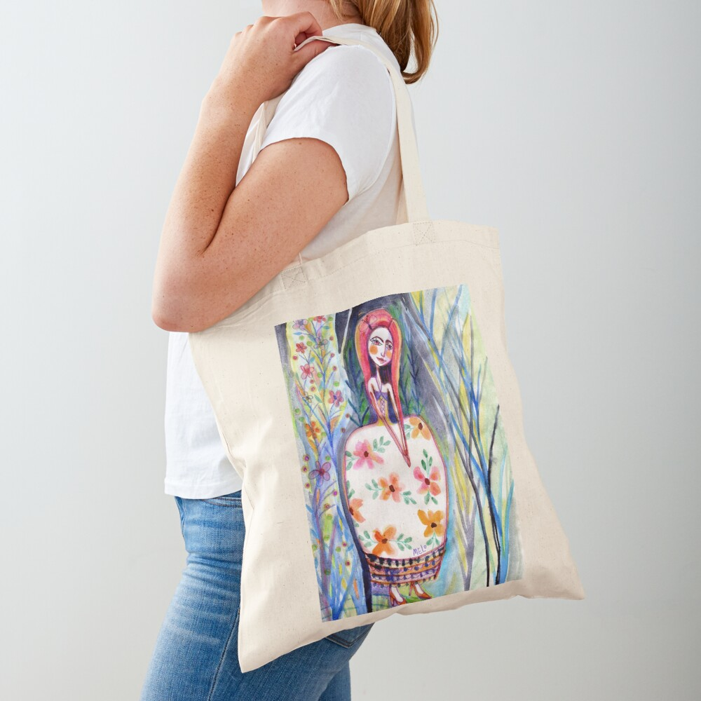 Woman in the Woods, Meloearth Art, Painting Redhead, Floral Fashion Dress, Orange Long Hair Girl Cute, Fairy, Floral Tote Bag