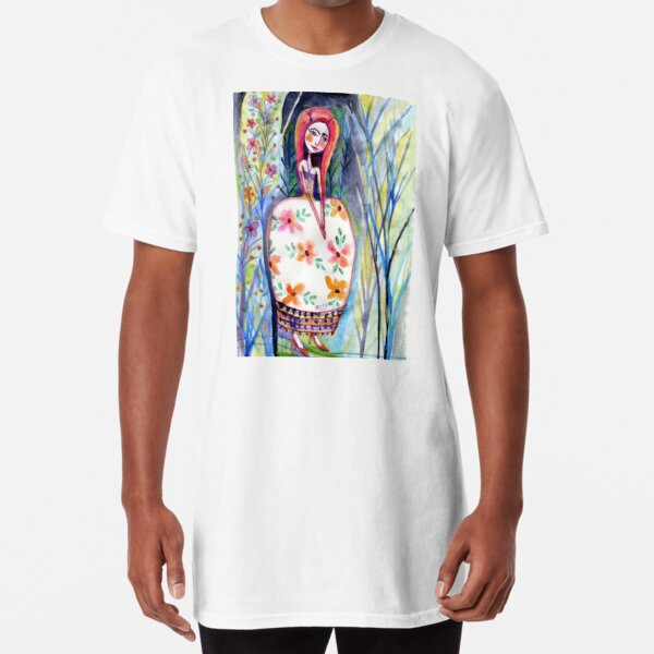 Woman in the Woods, Meloearth Art, Painting Redhead, Floral Fashion Dress, Orange Long Hair Girl Cute, Fairy, Floral Long T-Shirt