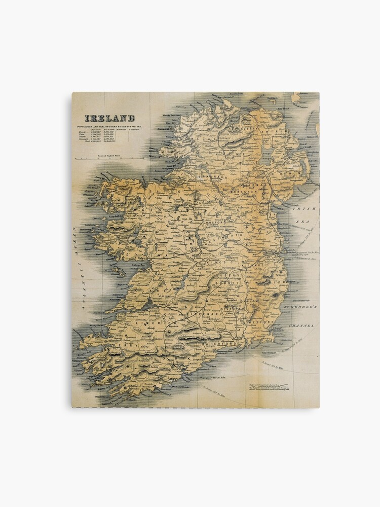 Map Of Ireland Print.Old Style Map Of Ireland Metal Print By Graysquirrel Redbubble