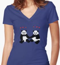 Panda Love Women's Fitted V-Neck T-Shirt