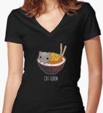 Catsudon Women's Fitted V-Neck T-Shirt