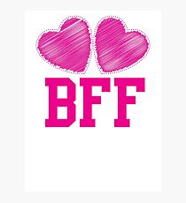 BFF with cute pink hearts Best Friends forever Photographic Print