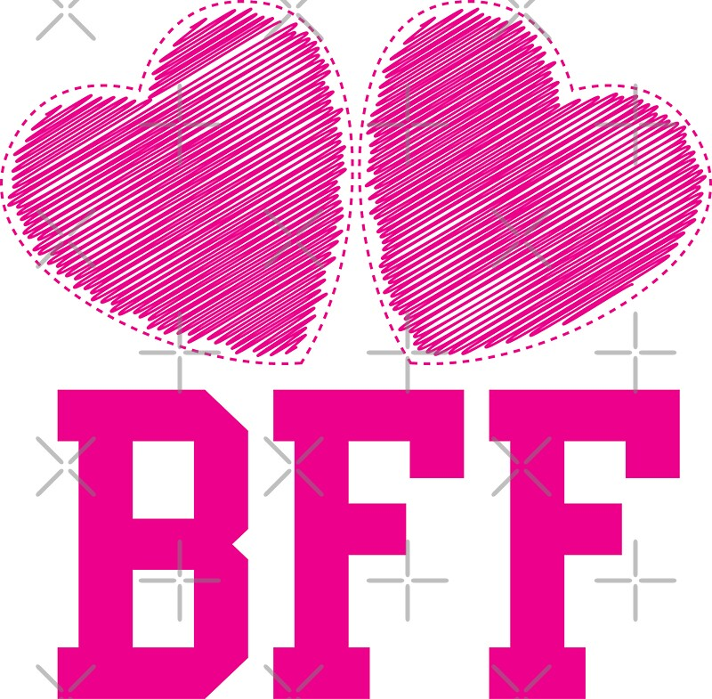 """""""BFF with cute pink hearts Best Friends forever"""" Stickers ..."""