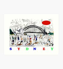 Sydney harbour and yachts abstract design Art Print