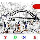 Sydney harbour and yachts abstract design by Al Benge