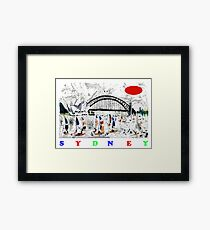 Sydney harbour and yachts abstract design Framed Print