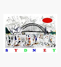 Sydney harbour and yachts abstract design Photographic Print