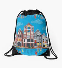 Amsterdam canal and houses Drawstring Bag