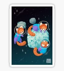 Red Space Pandas Sticker