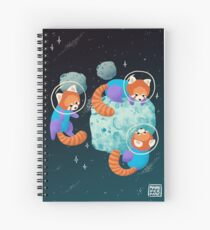 Red Space Pandas Spiral Notebook