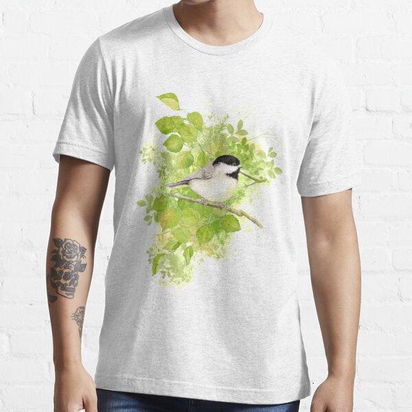 Mignonne petite aquarelle chickadee à tête noire T-shirt essentiel
