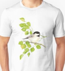 Watercolor Chickadee Bird in Poplar Tree Unisex T-Shirt
